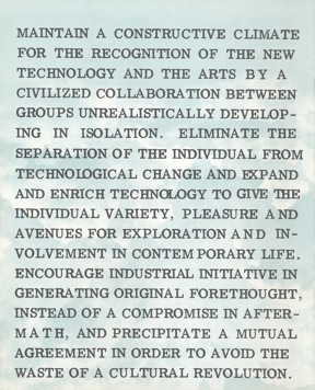 E.A.T. Aims, 1967. Courtesy E.A.T. Archives