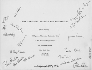 Invitation to the Press Briefing on 9 Evenings- Theatre & Engineering, 1966.