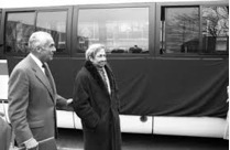 Kheel and Rauschenberg with New York City Bus in front of the UN