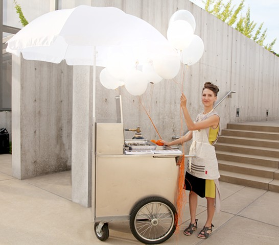 The artist with the monarch food cart, just before the opening of the Marfa Dialogues at the Pulitzer Arts Foundation.